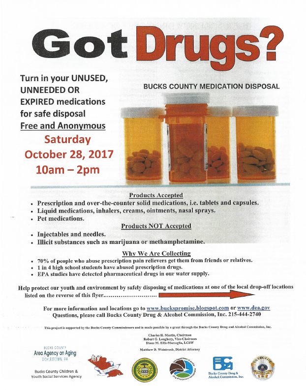 Bensalem Drug Take back October 2017