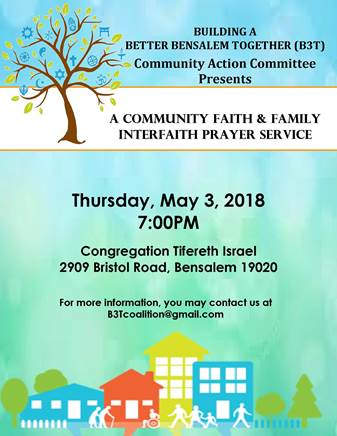 Building A Better Bensalem Together Interfaith Prayer Service May 2018